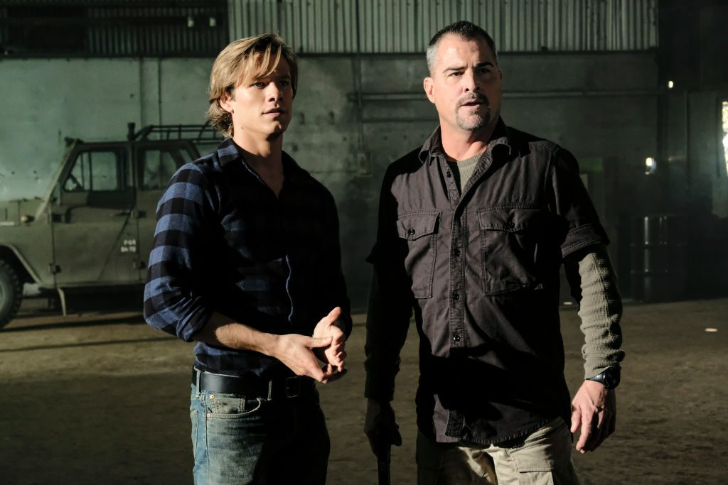 Lucas Till and George Eads in MacGyver