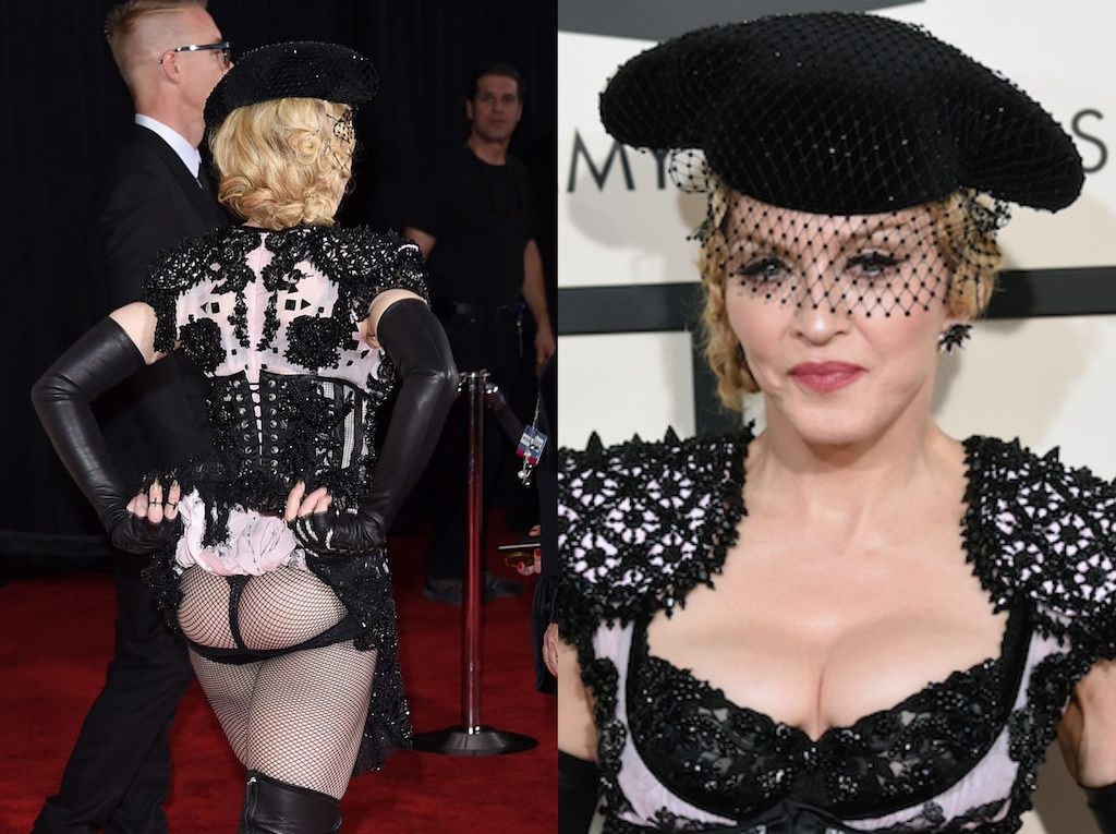 Madonna raised eyebrows with her look at the 2015 Grammy Awards.