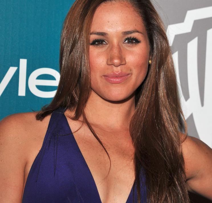 Megan Mark in a violet dress