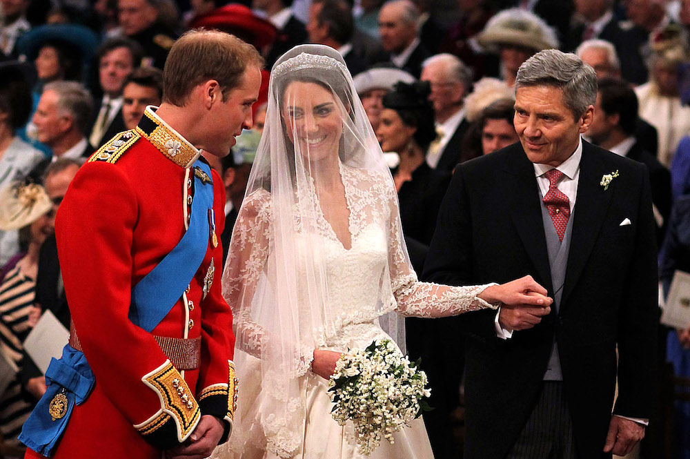 Michael Middleton giving away Kate Middleton to Prince William at their royal wedding in 2011.