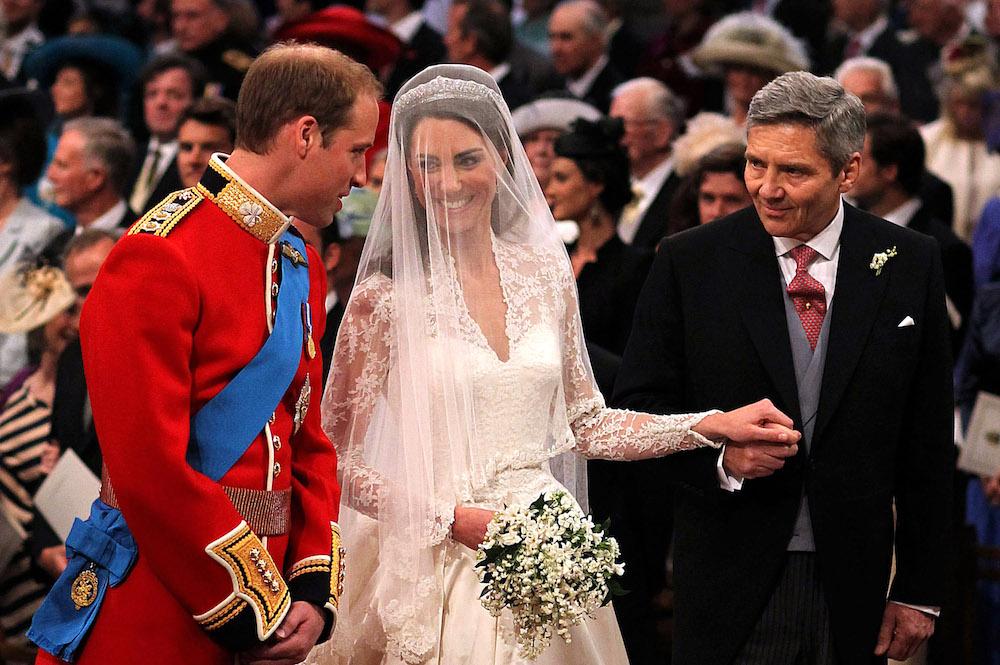 Michael Middleton giving away Kate Middleton to Prince William at their royal wedding in 2011.