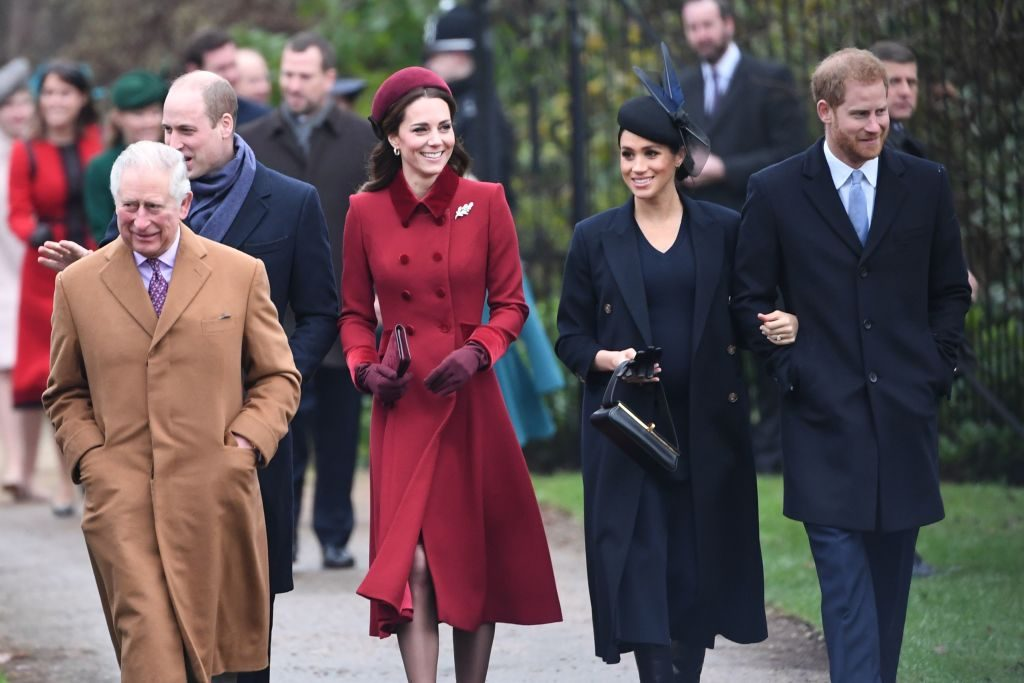 Prince Charles walks with Kate Middleton, Meghan Markle, Prince William, and Prince Harry on Christmas Day 2018.