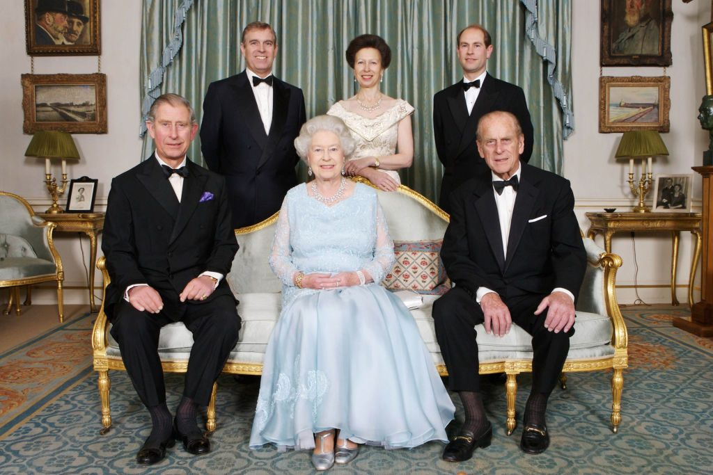 Queen Elizabeth II Prince Phillip and their children Prince Charles Prince Andrew Princess Anne, and Prince-Edward