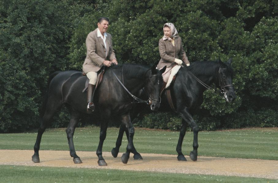 Queen Elizabeth riding a horse