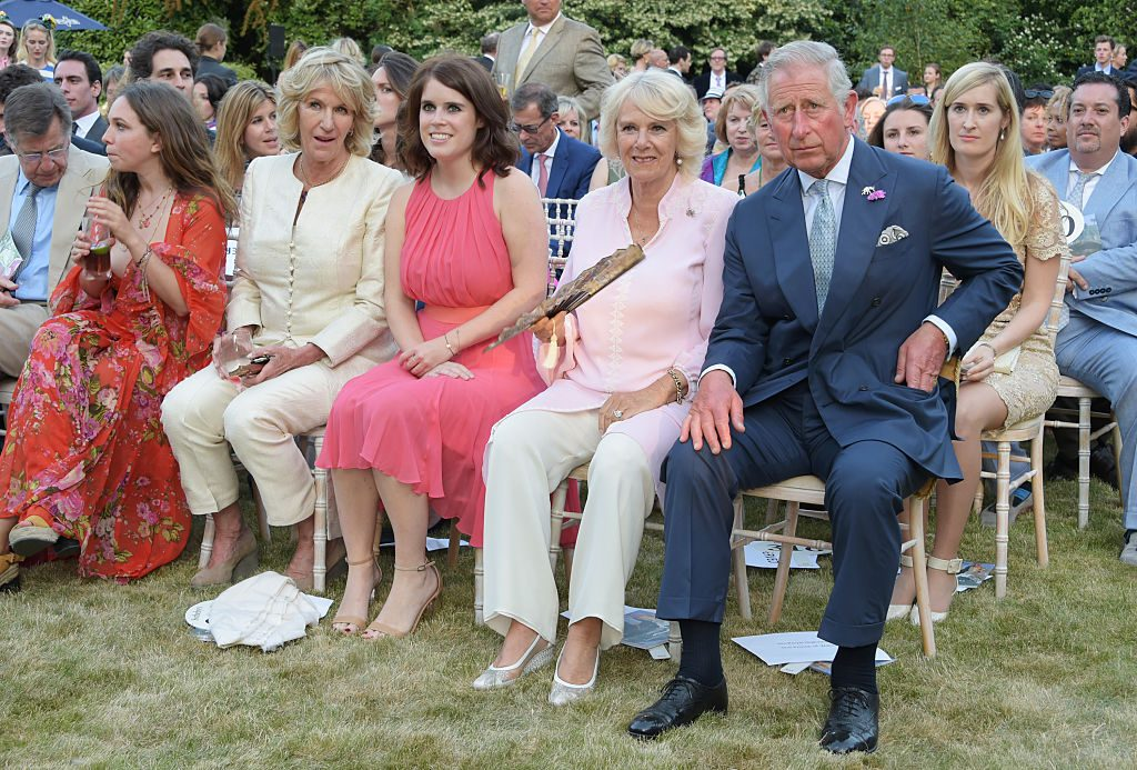 Ayesha Shand, Annabel Elliot, Princess Eugenie of York, Camilla, Duchess of Cornwall, and Prince Charles, Prince of Wale