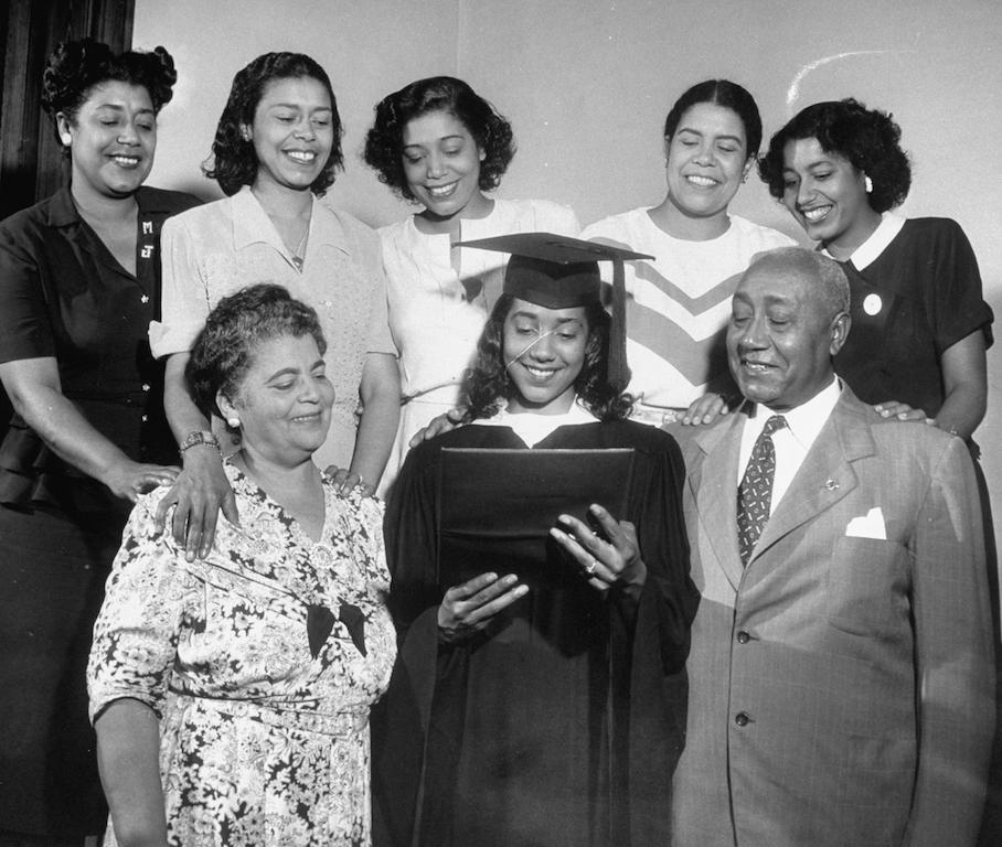 Spelman College graduate June Dobbs with her family