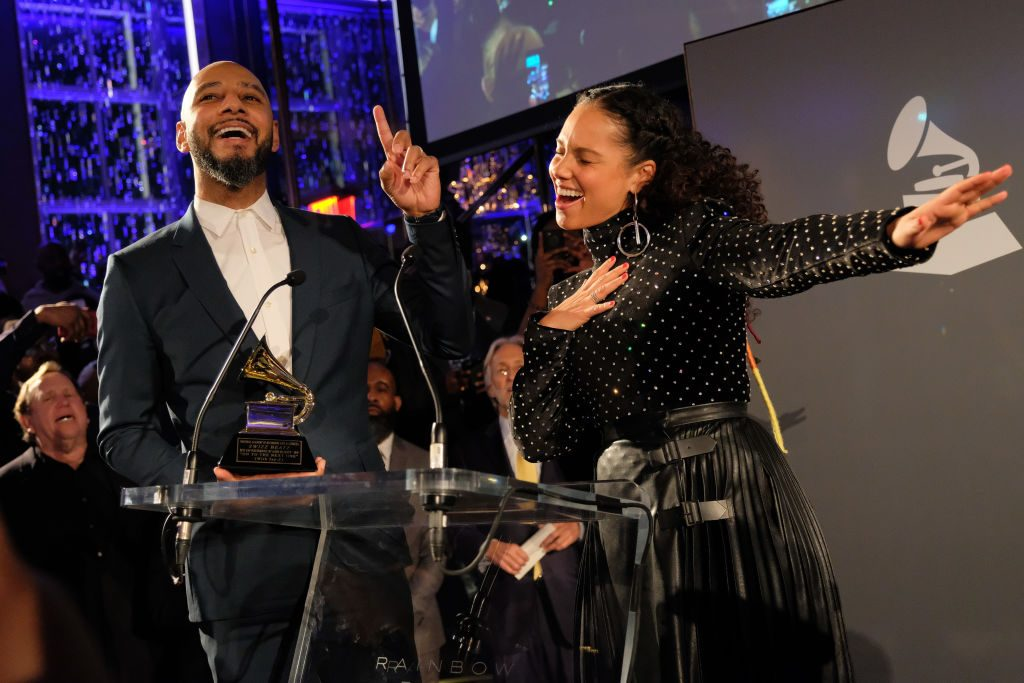 Swizz Beatz and Alicia Keys accept award at the Producers and Engineers Wing 11th Annual GRAMMY Week Event Honoring Swizz Beatz And Alicia Keys at The Rainbow Room on January 25, 2018 in New York City. |  Matthew Eisman/Getty Images for NARAS
