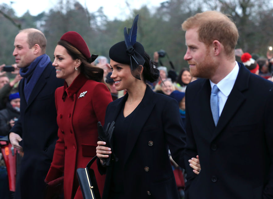 William, Kate, Harry, and Meghan all together outside