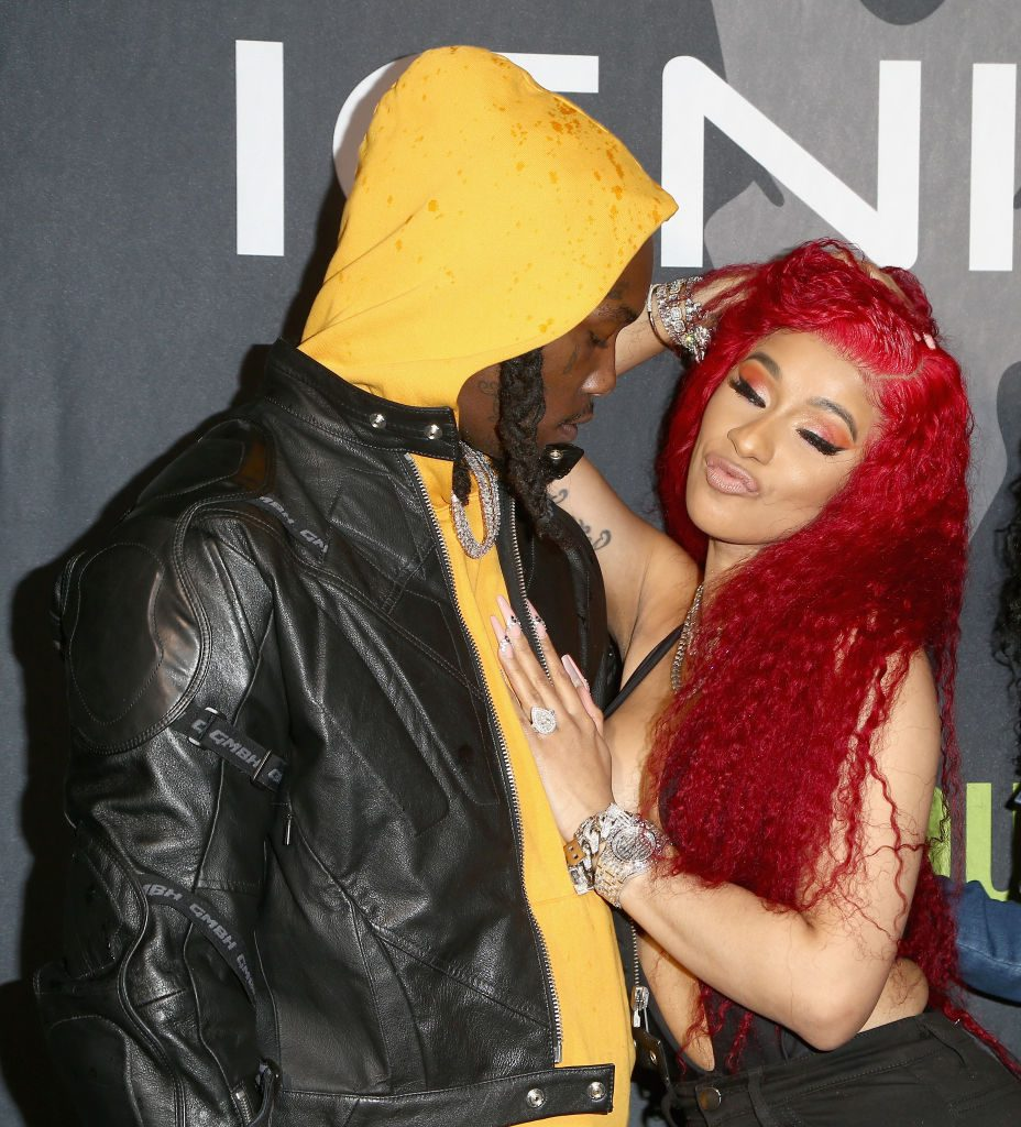 Cardi B and Offset engagement ring on display at Valentine's Day party.