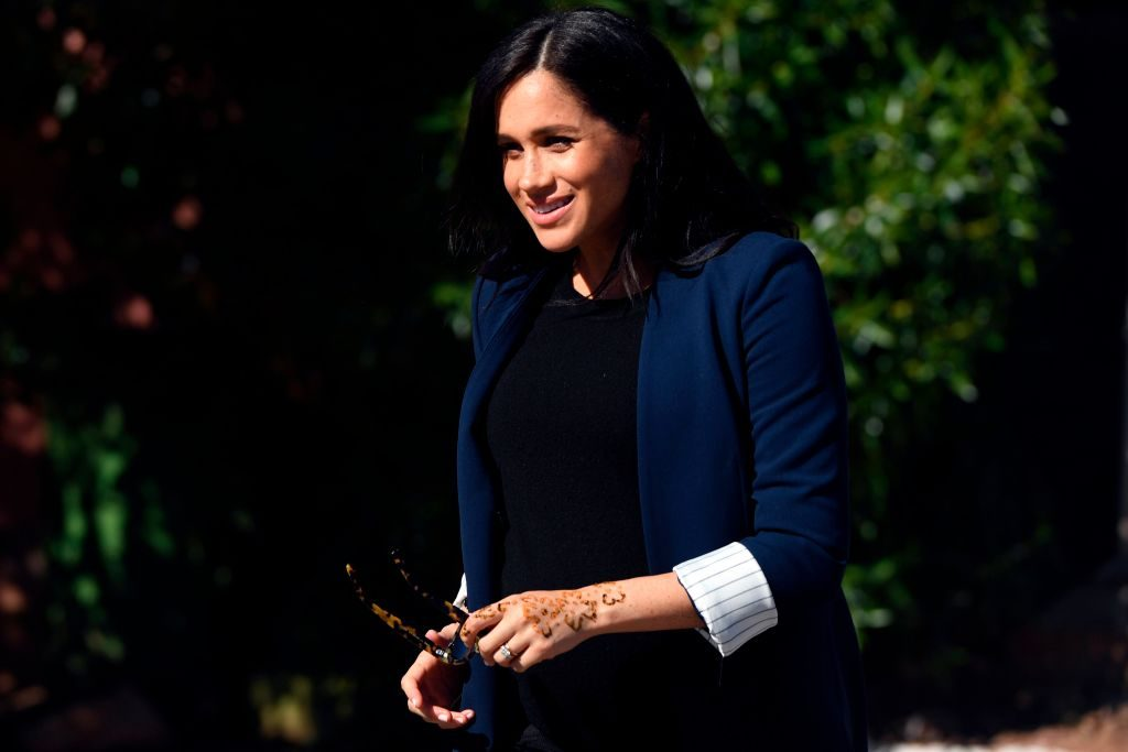 Meghan, Duchess of Sussex, arrives to meet children from the Education For All boarding house on February 24, 2019, in the town of Asni on the foothills of the High Atlas mountains. - Prince Harry and his wife Meghan arrived in Morocco.