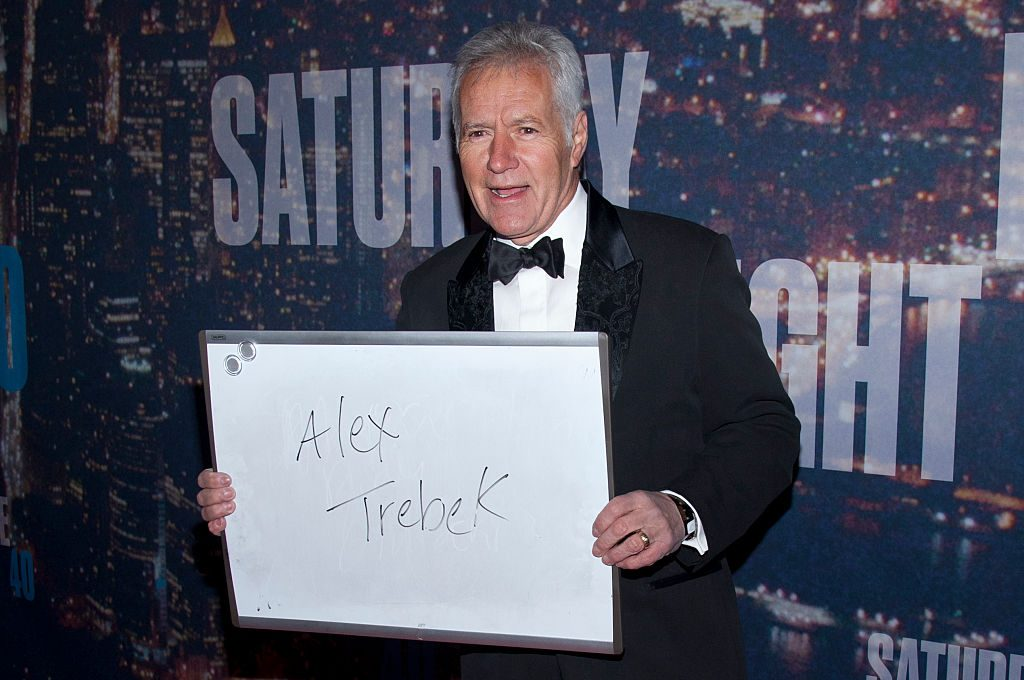 "Alex Trebek attends the ""SNL 40th Anniversary Special"" at Rockfeller Plaza in New York City. 