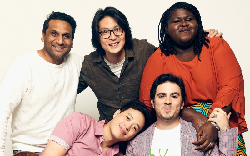 Ravi Patel, Richard Wong, Gabourey Sidibe, (front row L-R) Hayden Szeto, and Grant Rosenmeyer of the film 'Come As You Are'