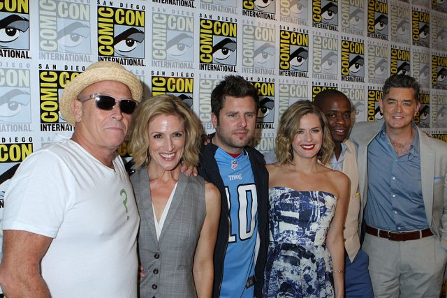 Corbin Bernsen, Kirsten Nelson, James Roday, Maggie Lawson, Dule Hill, and Timothy Omundson