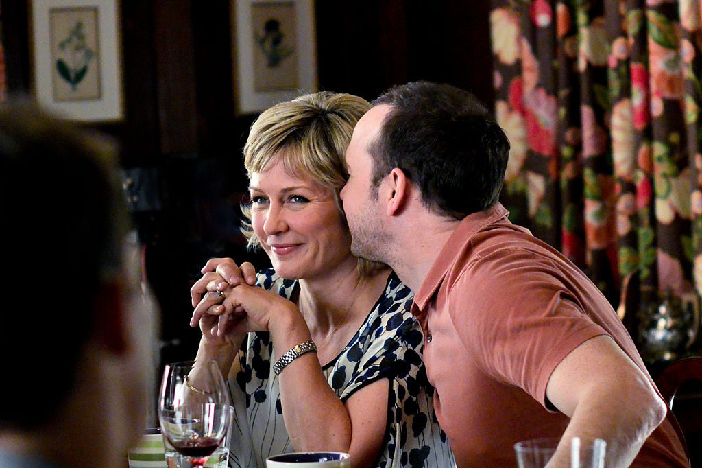 Donnie Wahlberg and Amy Carlson at Blue Bloods family dinner| John Paul Filo/CBS via Getty Images