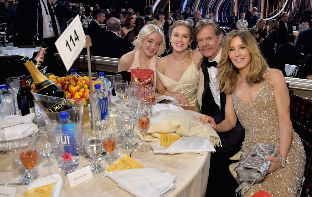 (L-R) Sofia Grace Macy, Georgia Grace Macy, William H. Macy, and Felicity Huffman