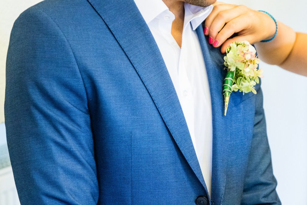 Formal boutonniere on suit