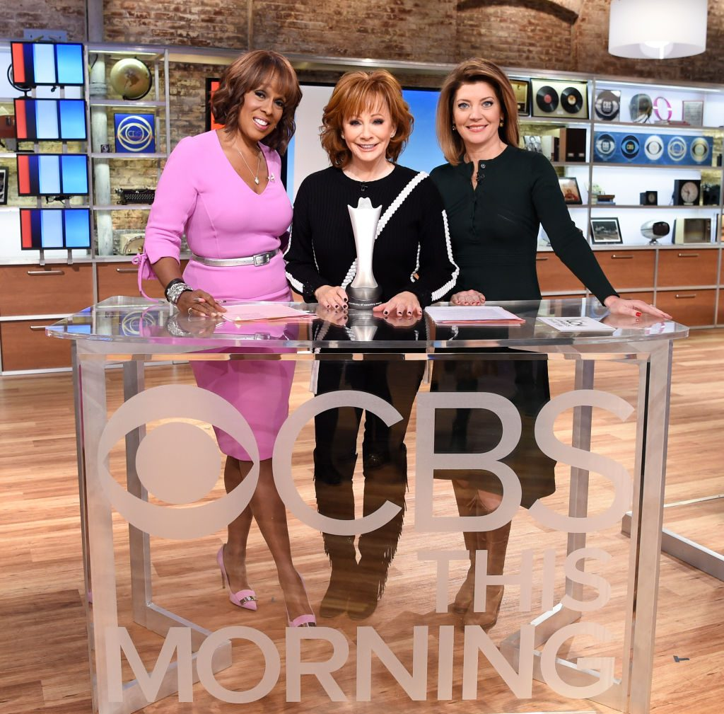 CBS This Morning co-hosts, Gayle King and Norah O'Donnell with Reba McIntyre.    Michele Crowe/CBS via Getty Images