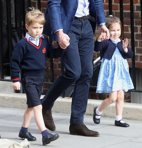 Princess Charlotte and Prince George walk with Prince William to meet Prince Louis