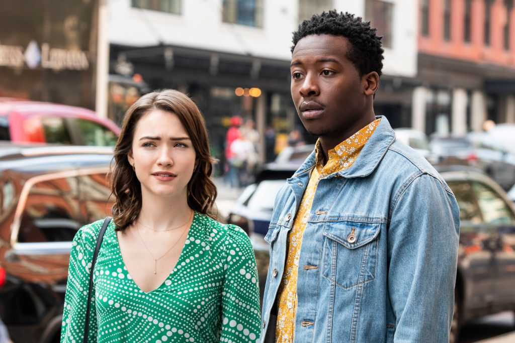 """Violett Beane as Cara Bloom, and Brandon Micheal Hall as Miles Finer on """"God Friended Me"""""""