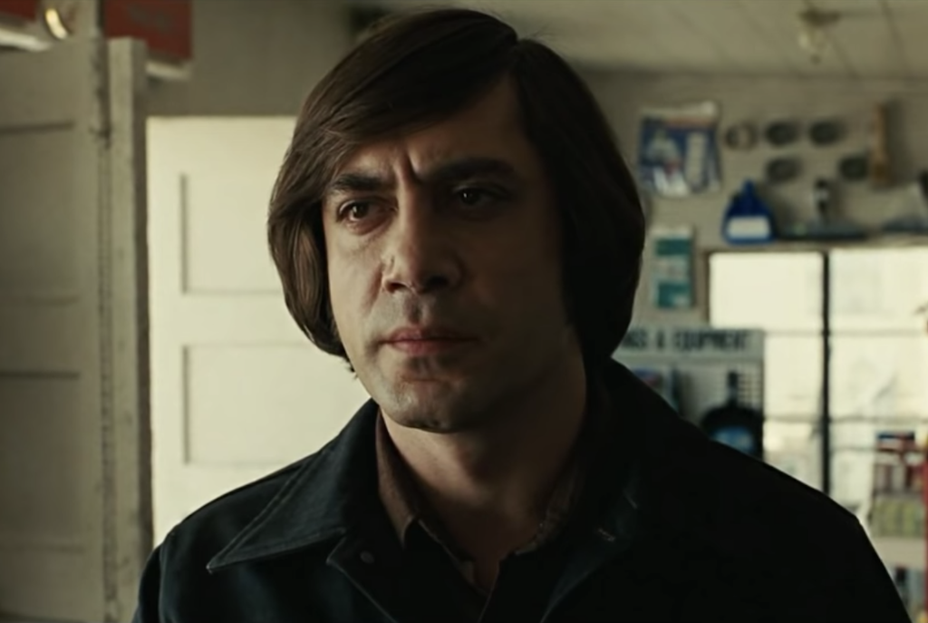 Javier Bardem plays Anton in No Country for Old Men