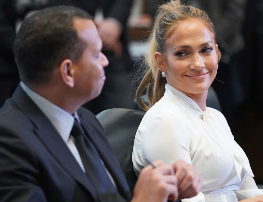 Jennifer Lopez smiling at Alex Rodriguez