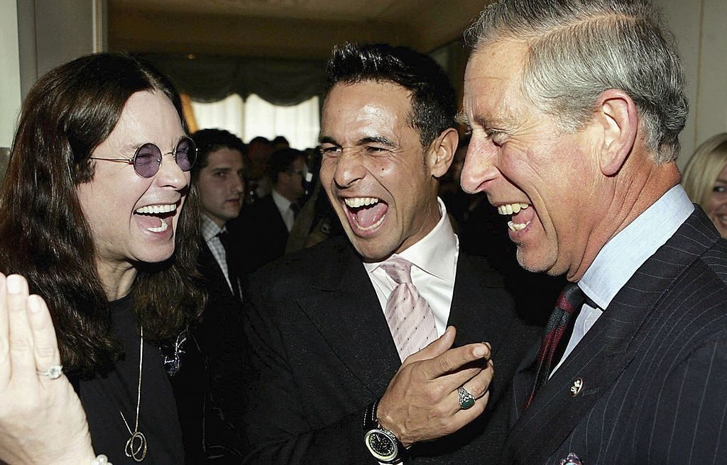 Prince Charles jokes with Ozzy Osbourne and Chico Slimani