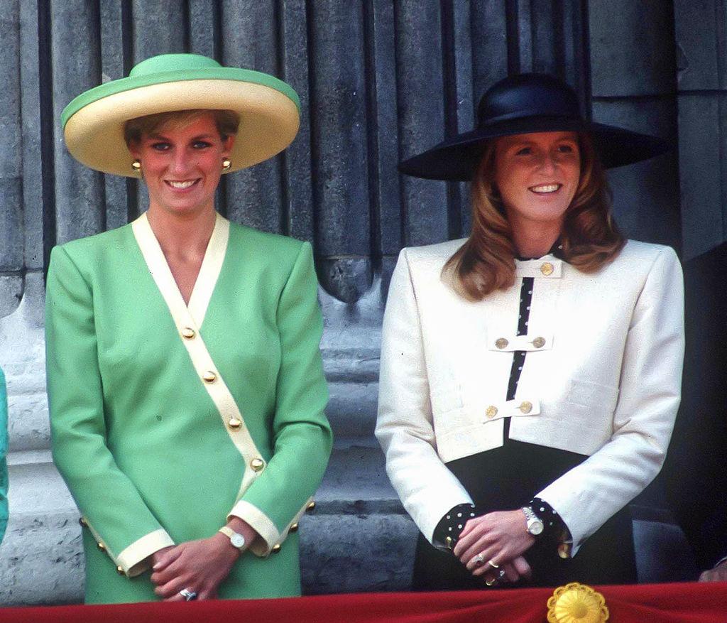 Princess Diana and Sarah Ferguson on the balcony of Buckingham Palace