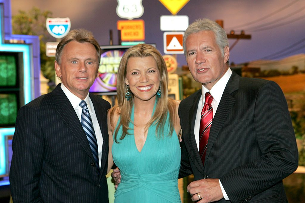 """Pat Sajak, Host of """"Wheel of Fortune"""", Vanna White, Co-Host of """"Wheel of Fortune"""" and Alex Trebek, Host of 'Jeopardy!'