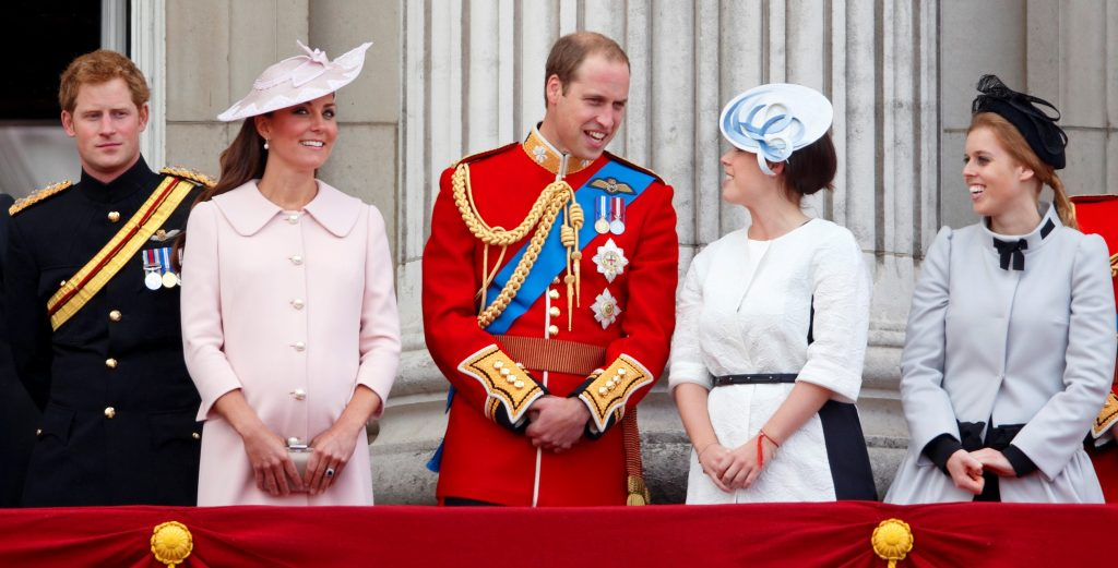 From L to R: Prince Harry, Kate Middleton, Prince William, Princess Eugenie, and Princess Beatrice