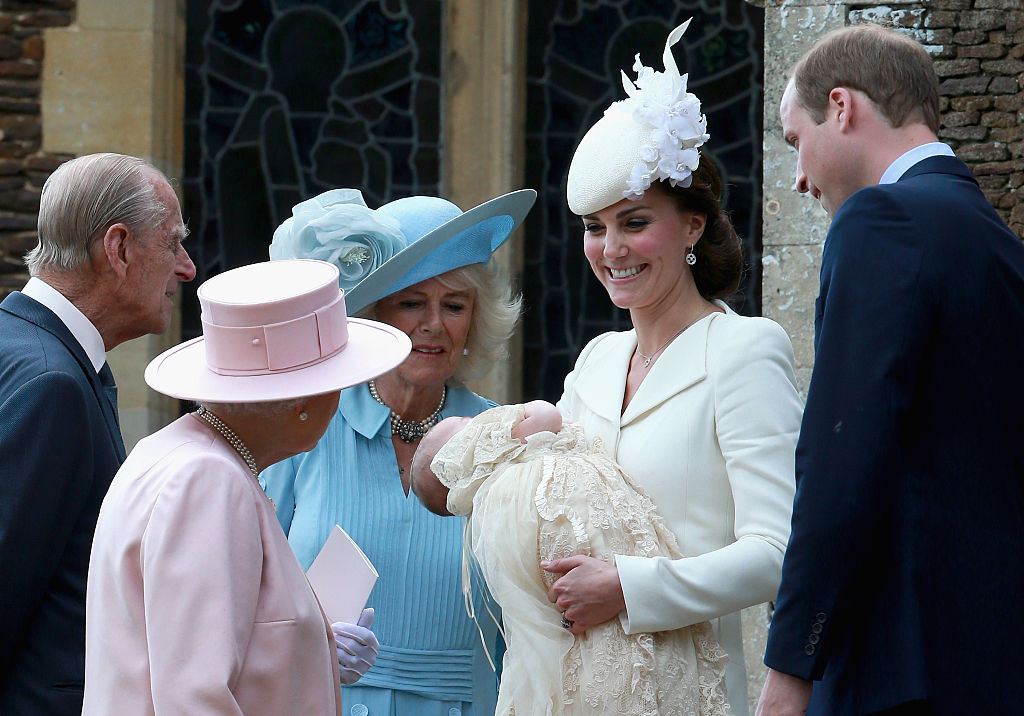 Kate Middleton holds baby Princess Charlotte at her christening.