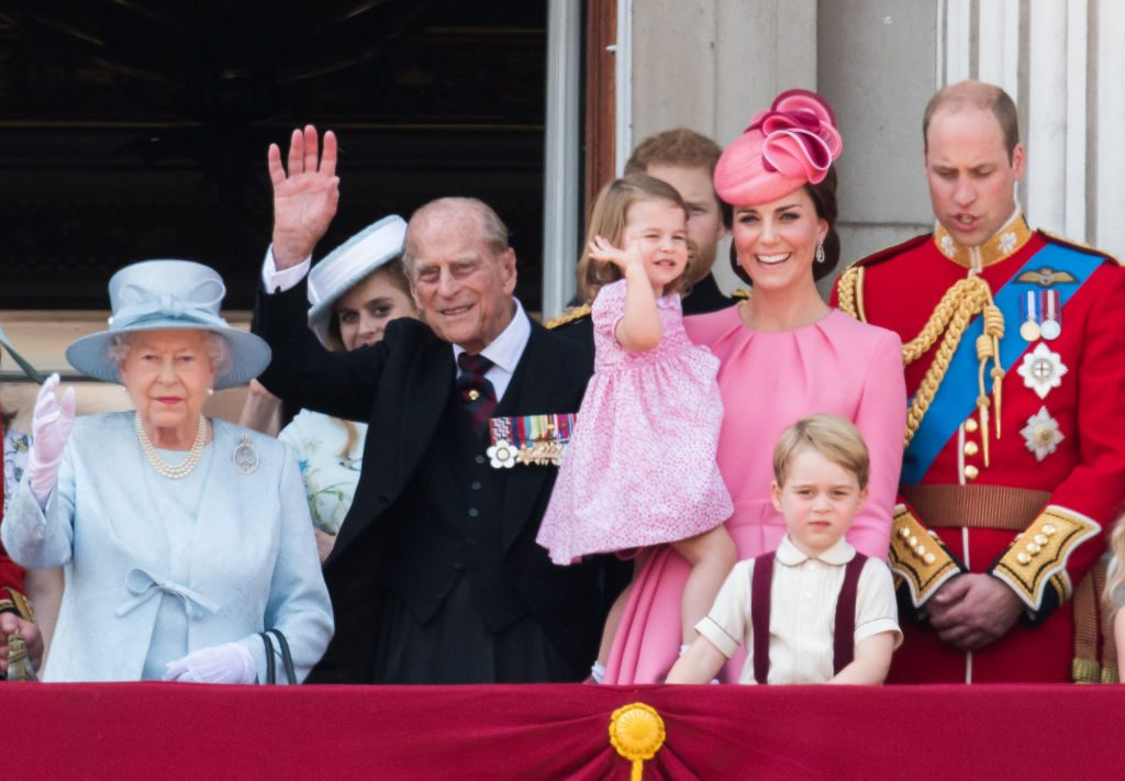 The royal family poses on the balcony at Buckingham Palace