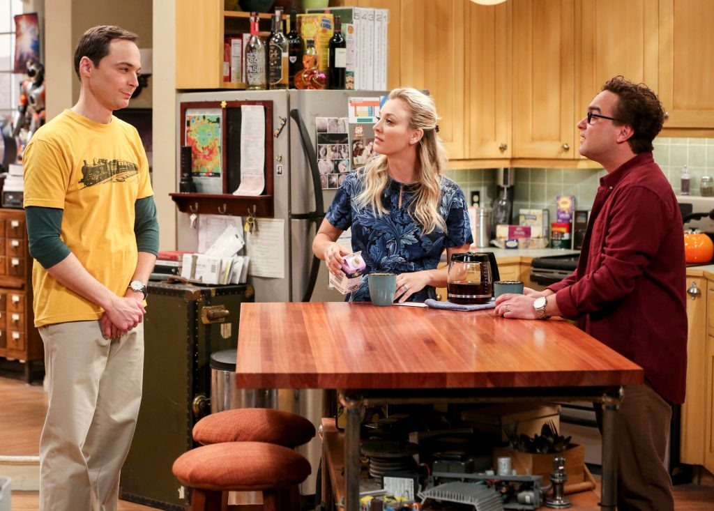 On the set of The Big Bang Theory, Jim Parsons, Kaley Cuoco, and Johnny Galecki