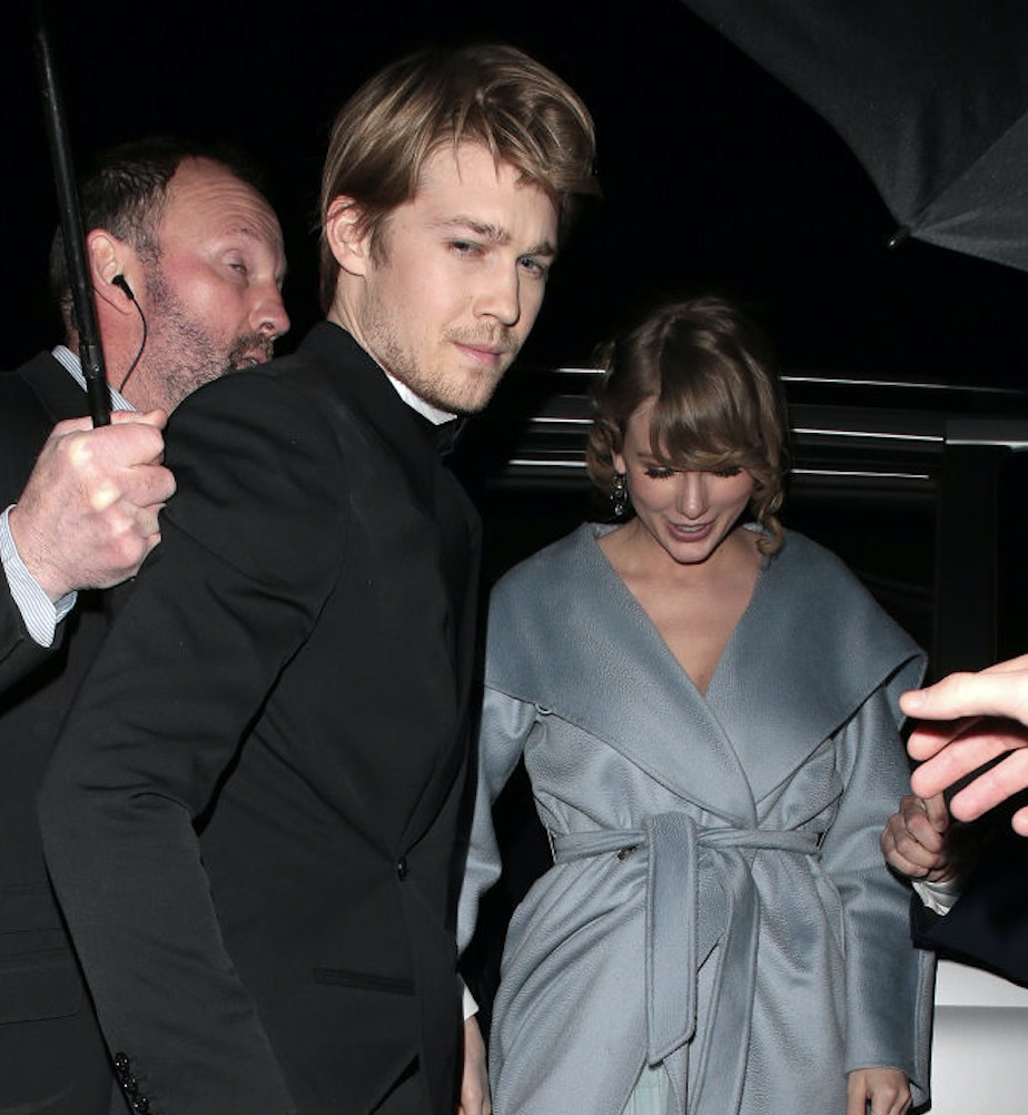 Joe Alwyn and Taylor Swift seen at the BAFTAs: Vogue x Tiffany Fashion & Film - afterparty at Annabel's on February 10, 2019 in London, England