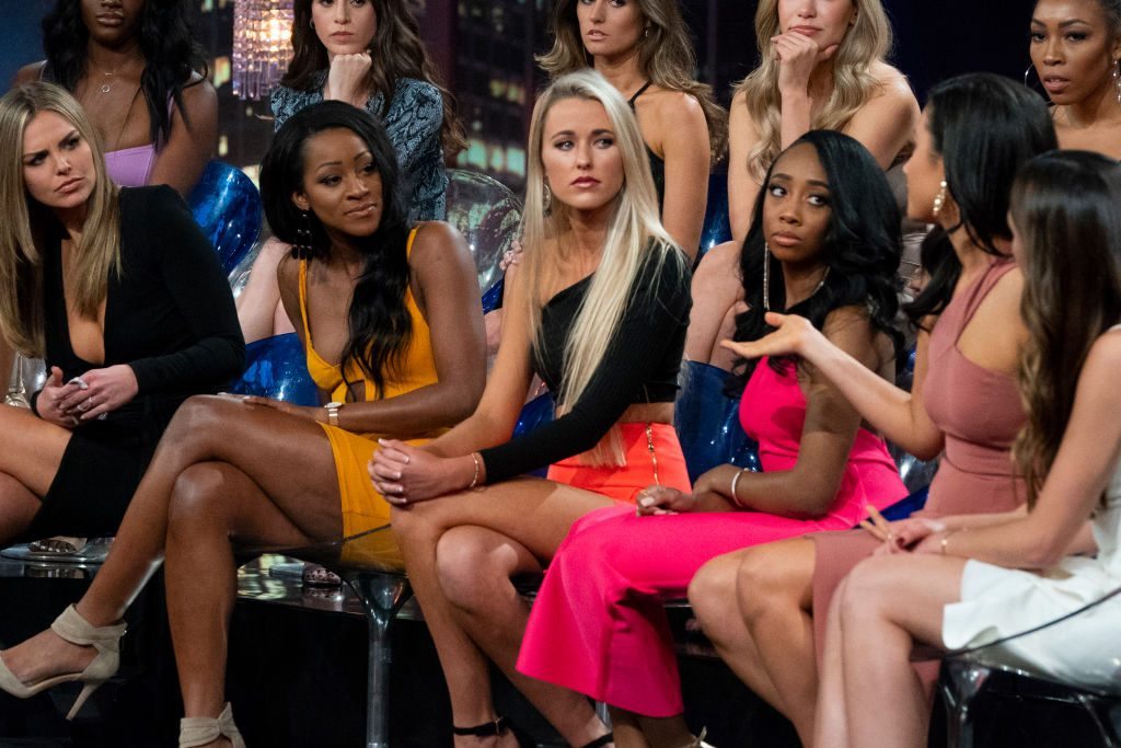 """Oneyka and Nicole, Demi and Courtney, and Katie and Caelynn. on """"The Bachelor: The Women Tell All,"""""""