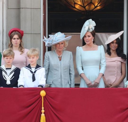 Princess Beatrice, Princess Eugenie, Camilla Parker Bowles, Kate Middleton, and Meghan Markle