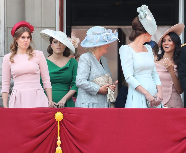 From L to R: Princess Beatrice, Princess Eugenie, Camilla Parker Bowles, Kate Middleton, and Meghan Markle