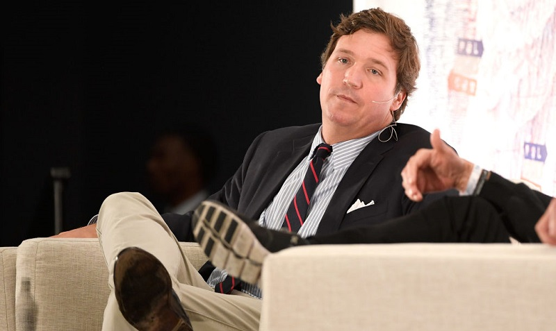 LOS ANGELES, CA - OCTOBER 21:  Tucker Carlson speaks onstage at Politicon 2018 at Los Angeles Convention Center on October 21, 2018 in Los Angeles, California.