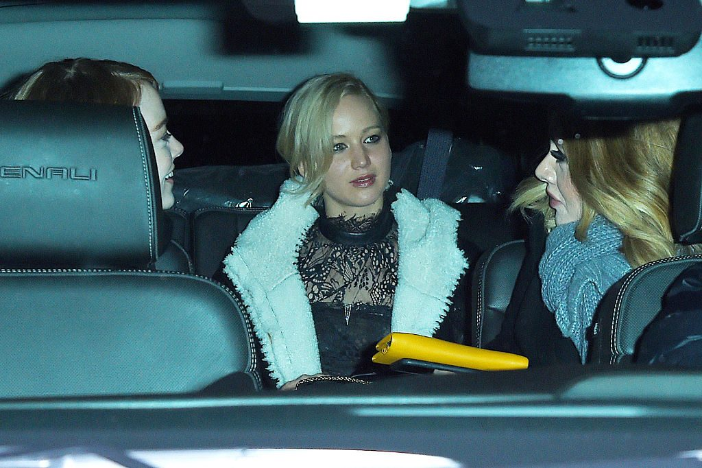 Emma Stone, Jennifer Lawrence, and Adele in a car together.
