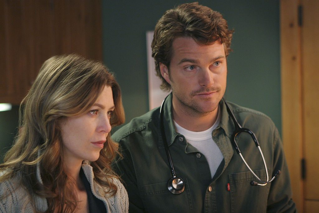 Meredith (Ellen Pompeo) and Finn (Chris O'Donnell) on Grey's Anatomy