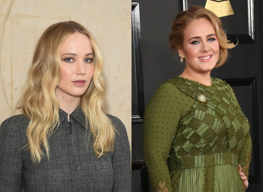 Jennifer Lawrence and Adele composite image