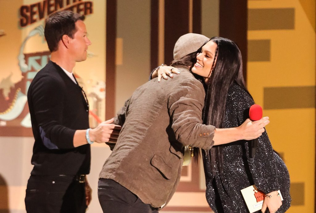 Mark Wahlberg stands by as Jessie J hugs Channing Tatum