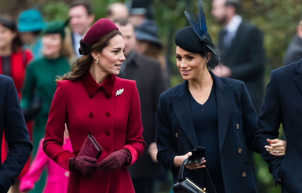 Kate Middleton and Meghan Markle talk while on way to Christmas service.