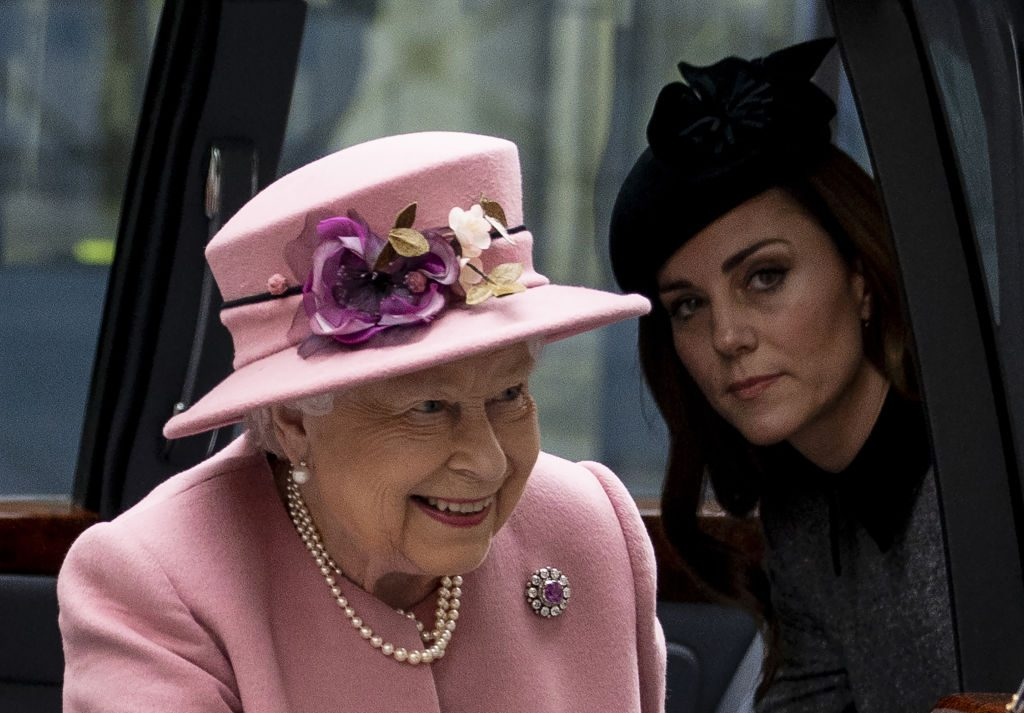 Queen Elizabeth and Kate Middleton visit Kings College, to open Bush House.