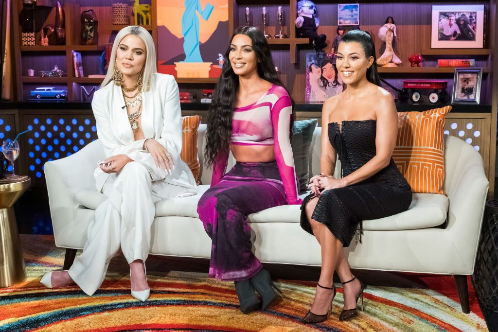 Khloe Kardashian on Watch What Happens Live With Andy Cohen - Season 16 with sisters Kim and Kourtney.