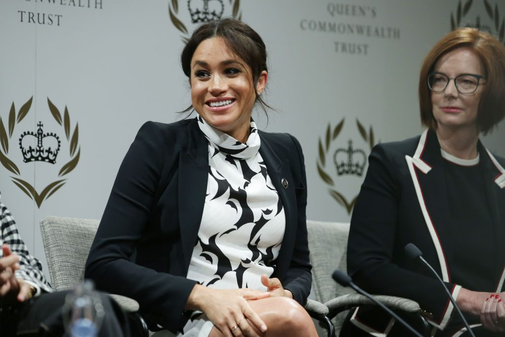 Meghan Markle talks at panel discussion for the Queen's Commonwealth Trust to mark International Women's Day.