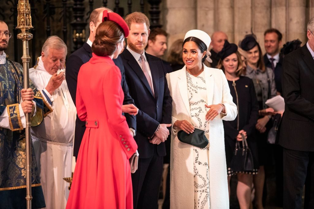 Kate Middleton, Prince William, Prince Harry, and Meghan Markle hug and kiss at Commonwealth Day 2019