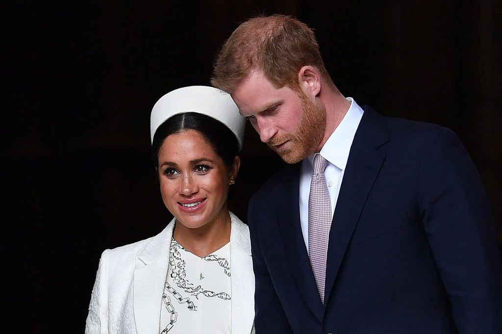 Britain's Prince Harry, Duke of Sussex (R) and Meghan, Duchess of Sussex leave after attending a Commonwealth Day Service at Westminster Abbey in central London, on March 11, 2019. - Britain's Queen Elizabeth II has been the Head of the Commonwealth throughout her reign. Organised by the Royal Commonwealth Society, the Service is the largest annual inter-faith gathering in the United Kingdom.