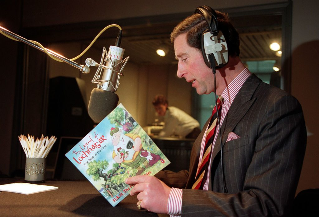 Prince Charles recording a narration of his children's book