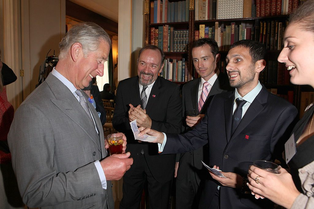 Prince Charles with Kevin Spacey and magician Dynamo