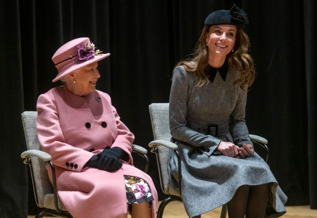 Queens Elizabeth II and Kate Middleton